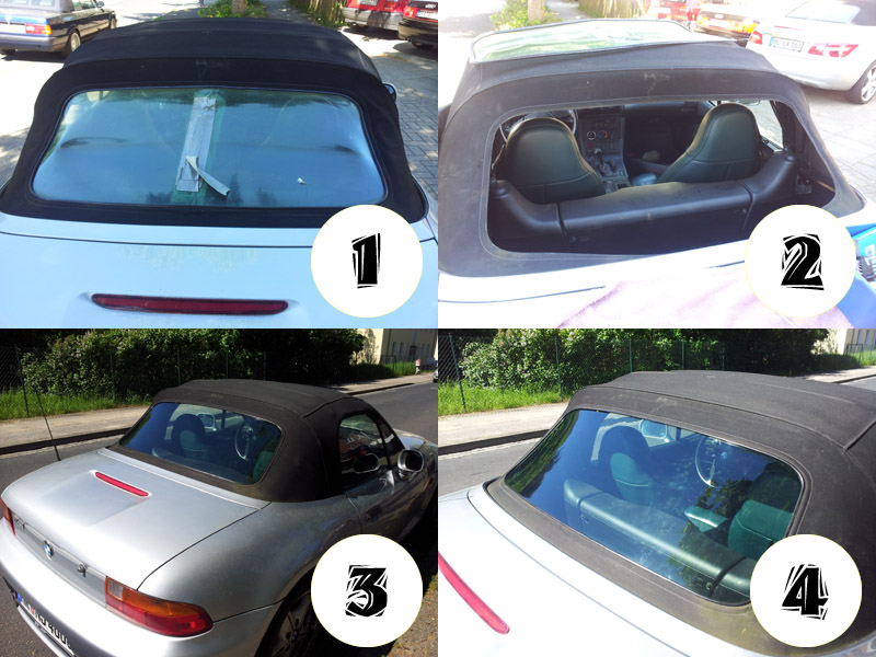 Bmw Z3 Convertible Rear Windscreen Retrospect Window