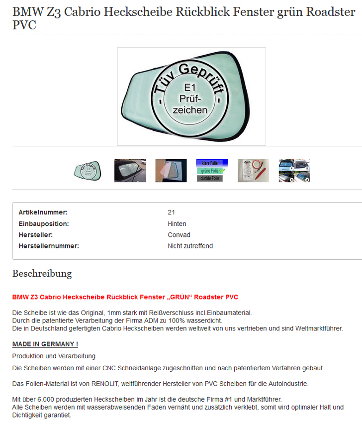 Clear BMW Z3 CONVERTIBLE REAR WINDSCREEN Retrospect Window PVC NEW Transparent